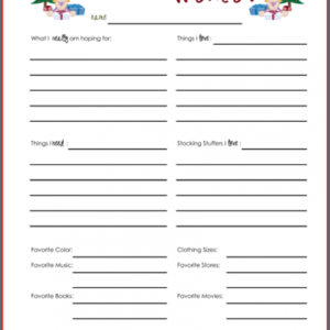 Wish Lists ~ Printables for Boys, Girls, & Everyone