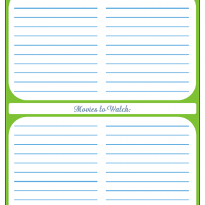 31 Days of Home Management Binder Printables: Day #18 Books and Movies