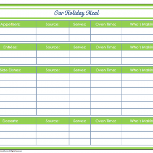 31 Days of Home Management Binder Printables: Day #30 Holiday Meal Planner