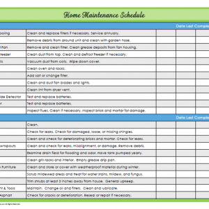 31 Days of Home Management Binder Printables: Day #22 Home Maintenance Schedule