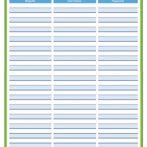 31 Days of Home Management Binder Printables: Day #17 Website User Names and Passwords