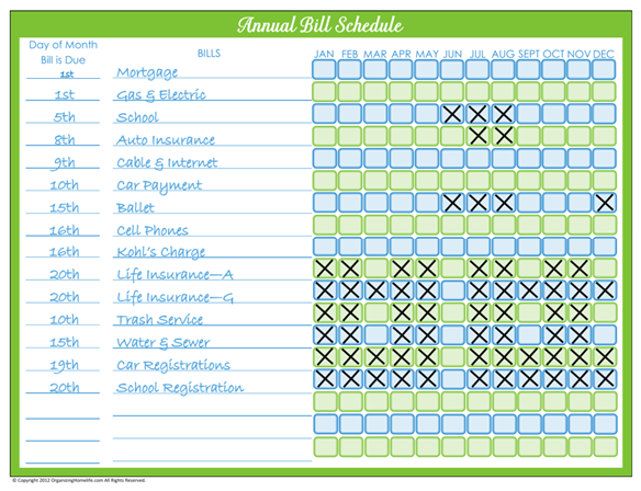 31 Days Of Home Management Binder Printables Day 6 Monthly Bill Pay Schedule Organizing Homelife