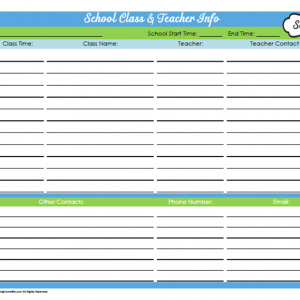 31 Days of Home Management Binder Printables: Day #16 School Class & Teacher Info