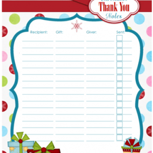 Printable Christmas Thank You Note Organizer