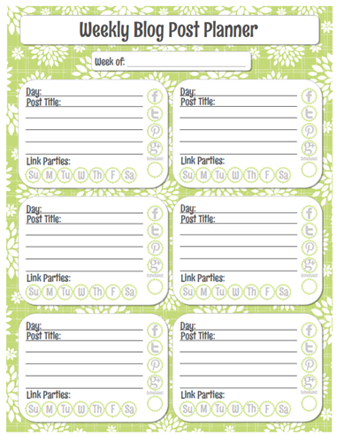 Organized Blog Planner {free printable} Weekly Post Planner