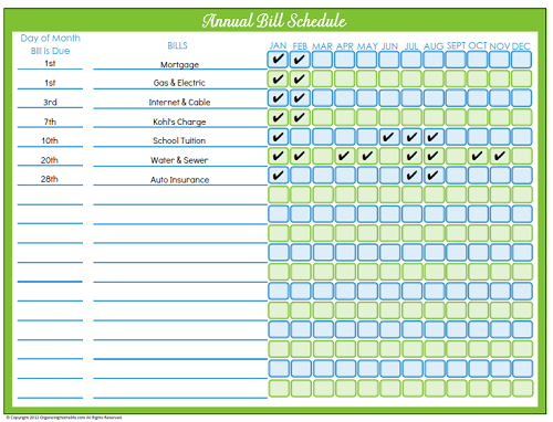 Editable Bill Payment Schedule Organizing Homelife