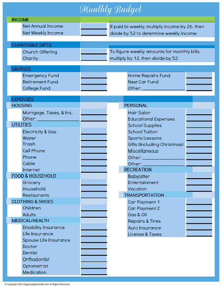 Editable Budget Worsheet - Organizing Homelife