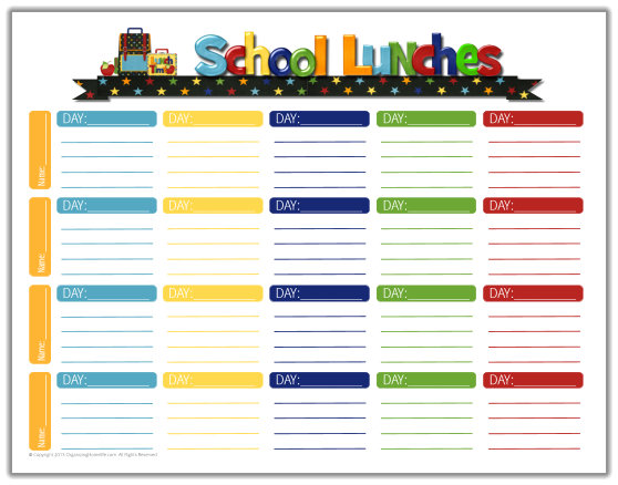 School Lunch Ideas & a Free School Lunches Printable Planner