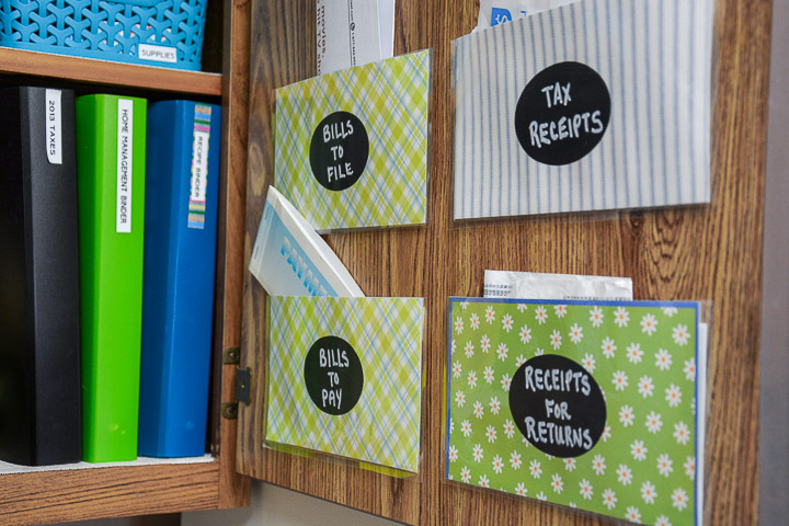 How To Make Cabinet Door Pockets To Organize Bills And