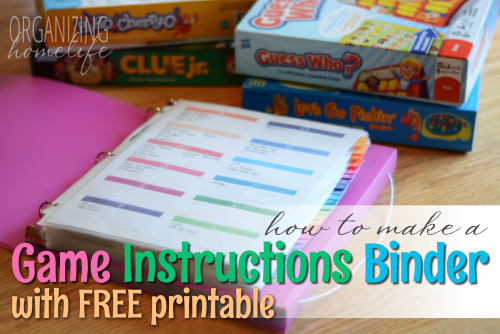 How to Organize Kids' Games and a FREE Printable Organizer