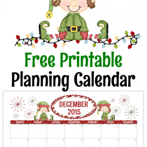 Elf on the Shelf Free Printable Planner Calendar