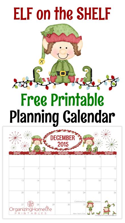 Elf On The Shelf Free Printable Planner Calendar