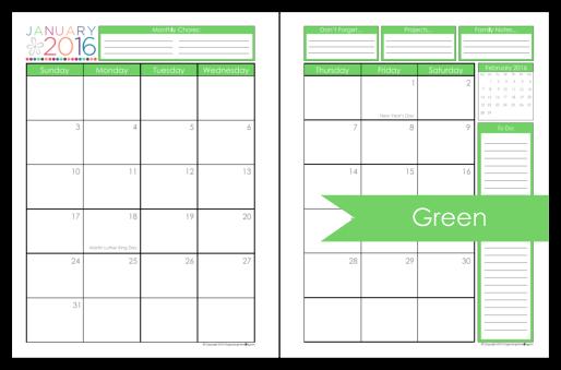 2016 Printable Planner 2017 Organizing Homelife