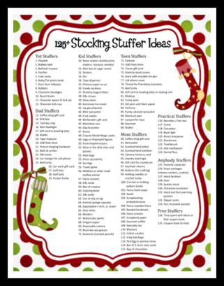Free Printable 125 Stocking Stuffer Ideas