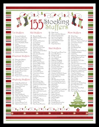 Free Printable 155 Stocking Stuffer Ideas