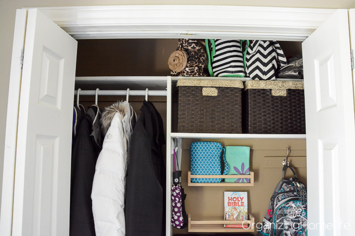 Entry Closet Shelf Baskets | Organizing Homelife