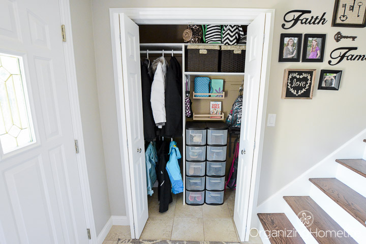 Organized Entryway Closet | Organizing Homelife